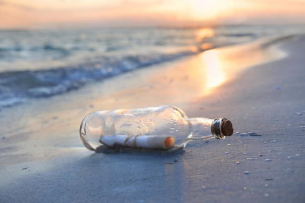 Message in a Bottle at Sunset